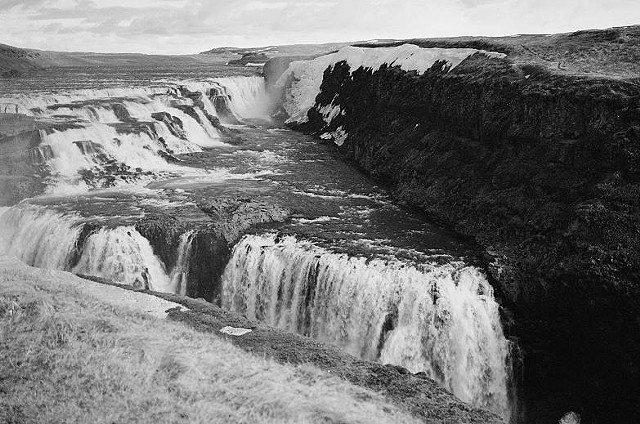 black and White,photo, river gorge, Iceland