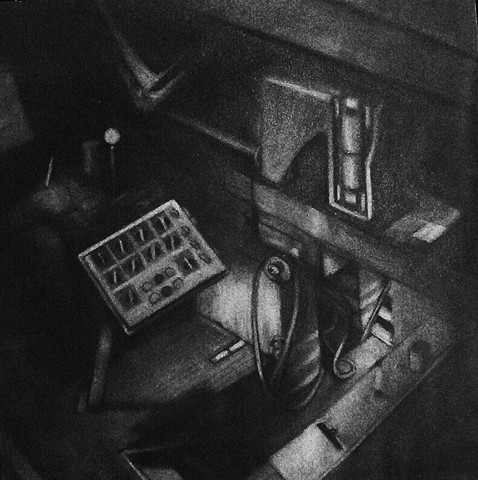 Charcoal drawing of an interior