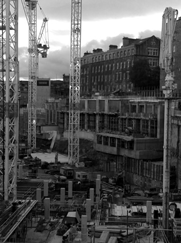 Black and white smart phone photo of Construction site