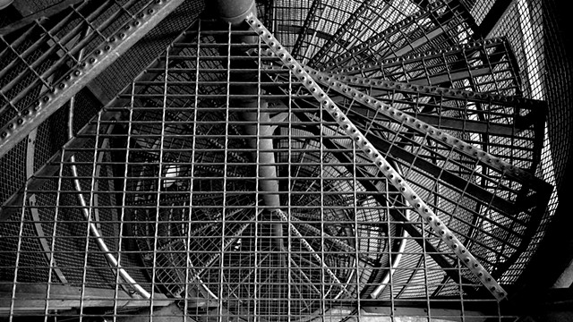 abstract black and white Iphone photo steel staircase
