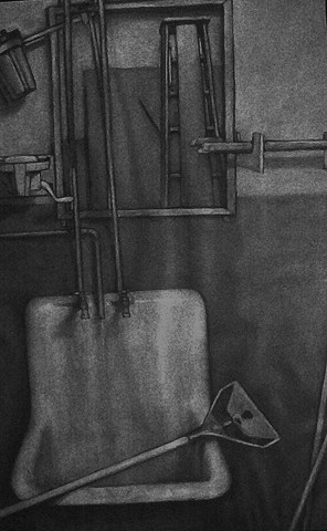 Charcoal drawing of an interior with sink