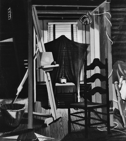 Attic Interior, Monochrom, Oil on canvas, still life