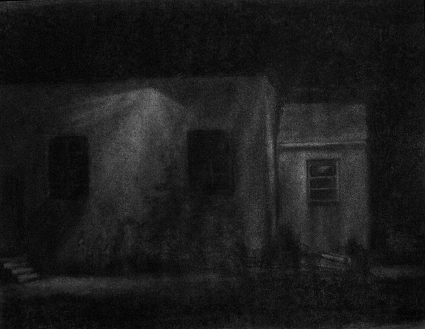 Charcoal on paper nightscape