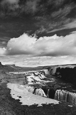 black and white photo, waterfall, Iceland, landscape