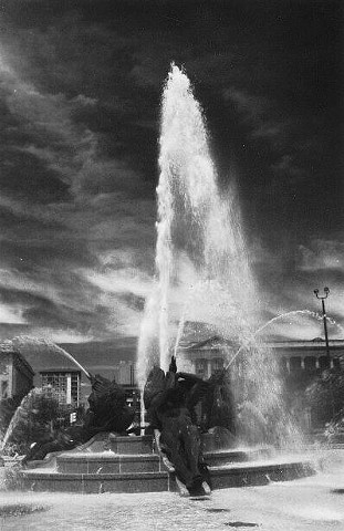Black and white archival capture photo of fountain