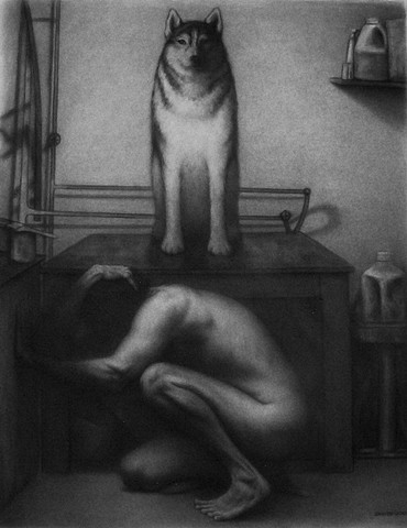 Interior charcoal drawing of male figure with dog