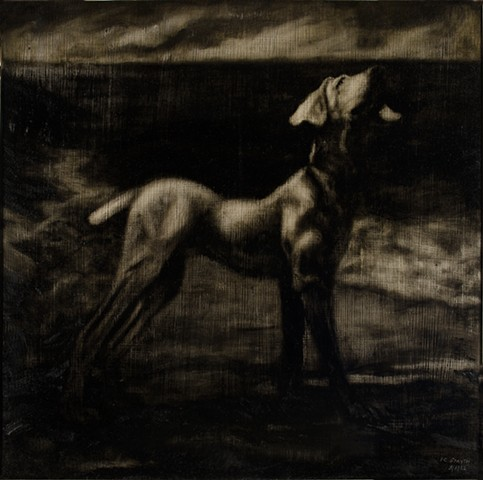 Center panel, oil on panel, nightscape with dog by ocean