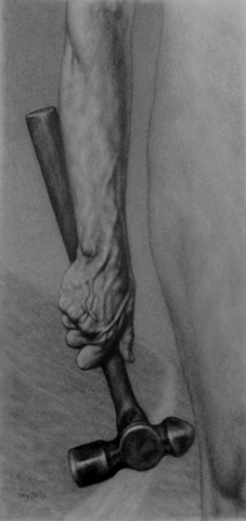 Graphite drawing of arm holding hammer, Fellowship or the Pensylvania Academy of the Fine Arts Collection
