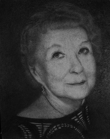 Charcoal drawing of older woman
