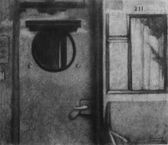 Charcoal drawing of a train interior