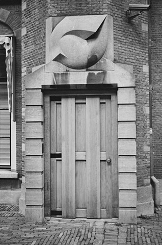 black and white, photo, medieval doorway, The netherlands