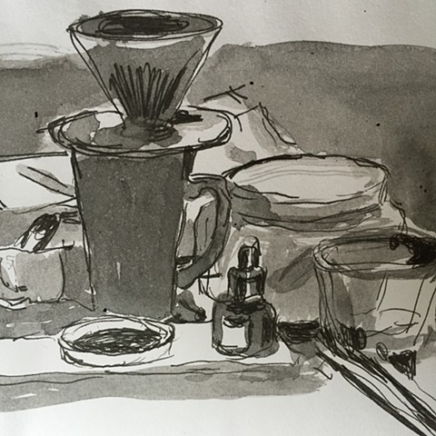 still life with coffee and ink bottle