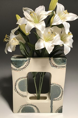 Kyle Osvog rectangle vase, cream with palladium contemporary functional ceramics