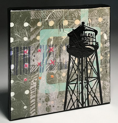 neutral grey water tower art mixed media printmaking
