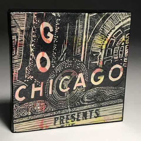 chicago theater linoblock print on canvas