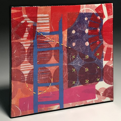 red abstract on canvas by Kathrine Allen-Coleman stitching