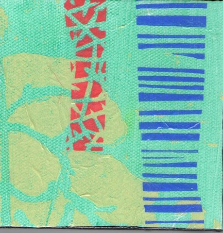 Small pieces of original art by Kathrine Allen-Coleman.  Incorporating linoblock printmaking and collage.