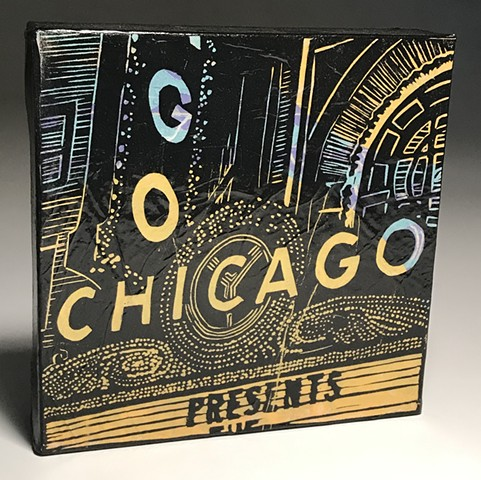 chicago theatre art linocut blockprint on canvas kathrine