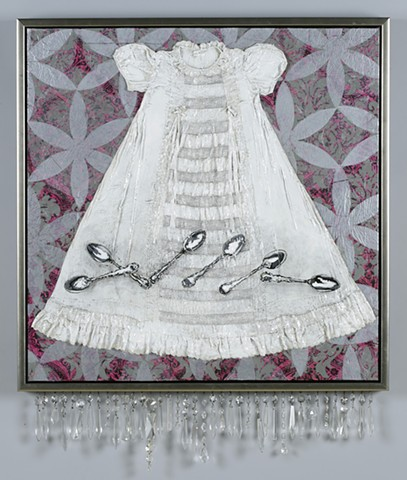 child's christening gown dress painting mixed media piece by Kathrine Allen-Coleman
