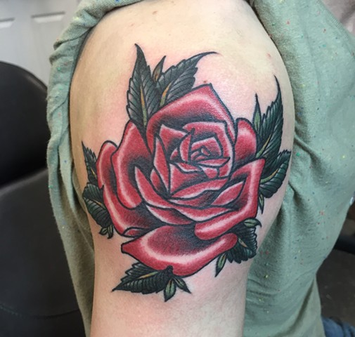 Realistic Traditional Rose Tattoo by Cassandra Knox