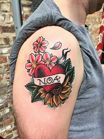 Traditional heart and flowers with banner tattoo by Cassandra Knox