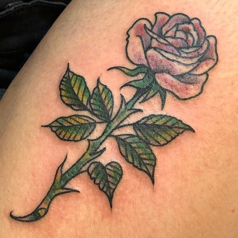 Traditional Rose with Stem Tattoo By Cassandra Knox