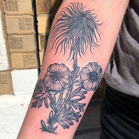 Blackwork Flower Tattoo By Cassandra Knox