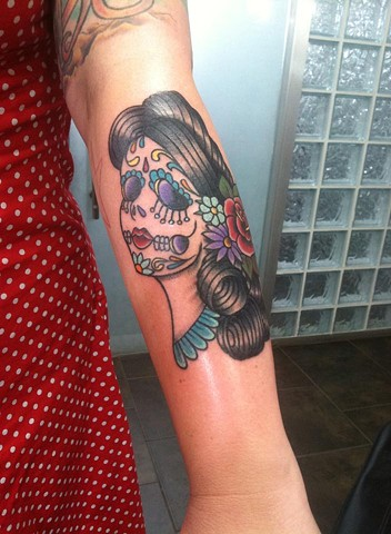 Day of the dead, Dela de los muertos lady head tattoo by Cassandra Knox