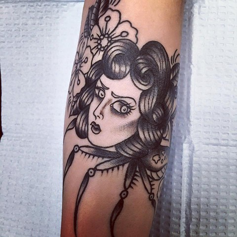 3d91320ef Black and Grey traditoinal Black Widow spider woman tattoo by Cassandra Knox