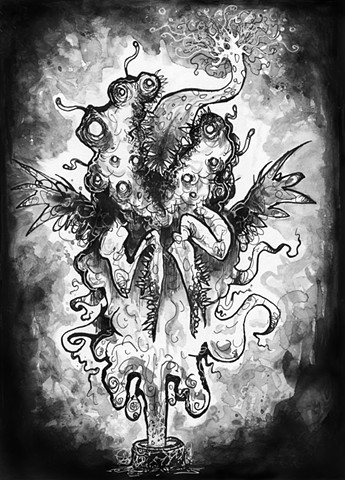 hP Lovecraft, Fantasy Horror Illustration, Album Cover, Dark art, Weird Art