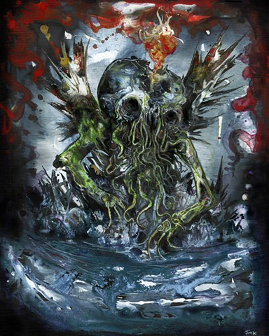 hp Lovecraft, Fantasy Horror Illustration, Album Cover, Dark art, Weird Art, Cthulhu