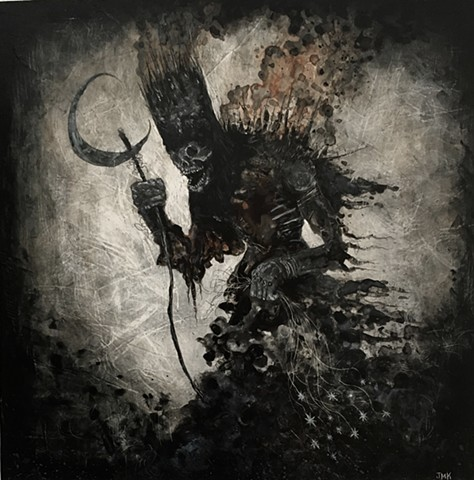dark art, lowbrow art, demon, frost, black metal, elemental, pagan, mythology, winter devil