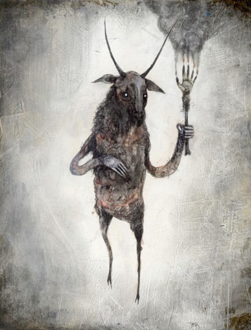 artwork depicting goat of mendes, horned god, demon, lucifer