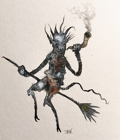 demon, devil, broom, dark art, occult, satan, lowbrow art, monster