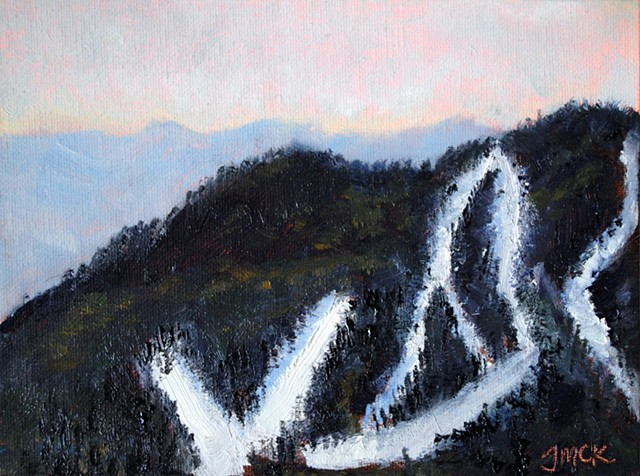 Oil painting of ski slopes and mountains