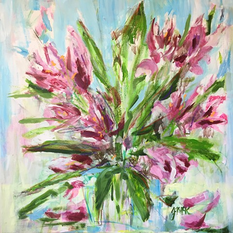 Abstract flora painting of tulips