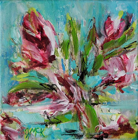 Small abstract floral painting of tulips