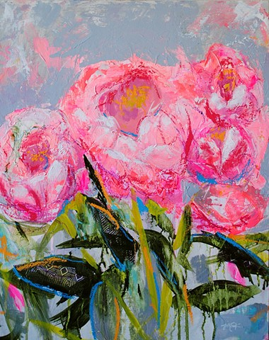 abstract floral painting with collage of peony flowers