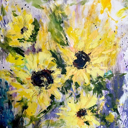 abstract floral painting of wild sunflowers