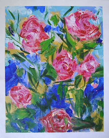 Bright, colorful floral painting on canvas paper