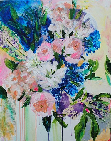 abstract floral painting with collage