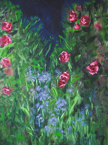Floral acrylic painting on canvas landscape