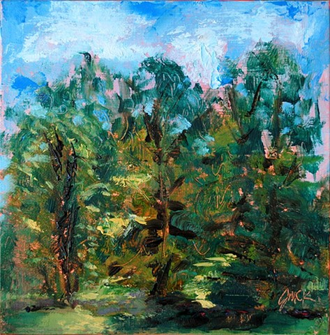 oil painting of landscape and trees