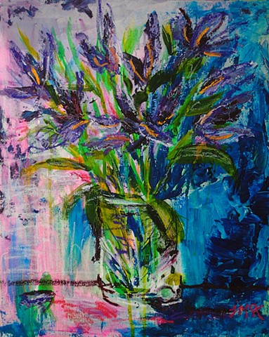 abstract floral painting of irises in a vase