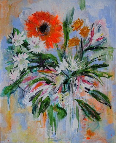 Floral acrylic painting on canvas paper