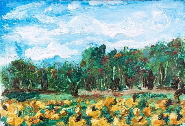 miniature oil painting of a pumpkin patch in late fall