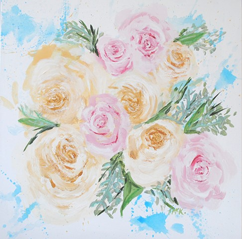 Custom wedding bouquet painting with peonies and roses