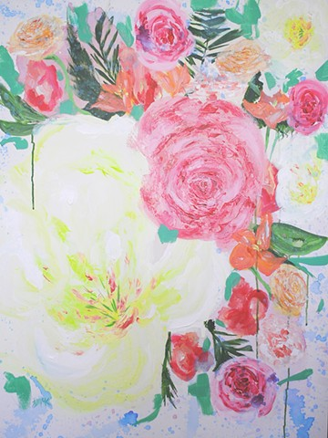 Bright, colorful floral painting on canvas
