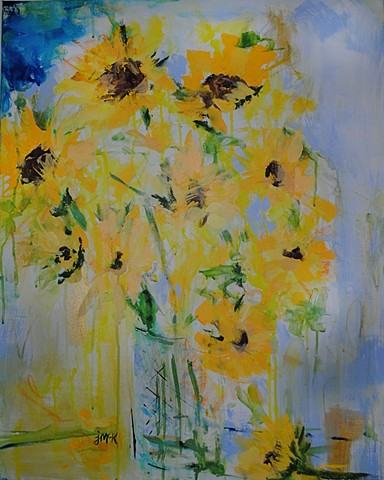abstract floral painting of sunflowers in a vase