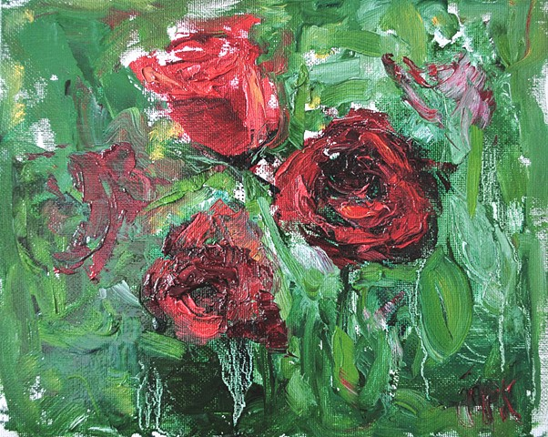 Oil painting of roses on canvas panel